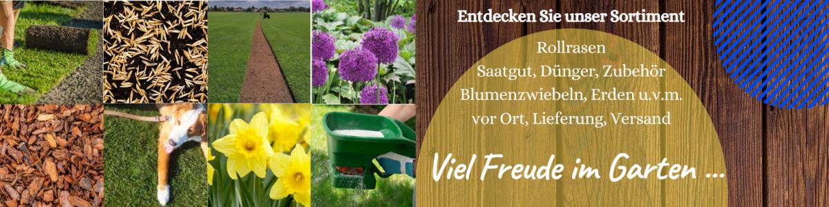 Rollrasen Berlin Brandenburg unser Angebot: Rollrasen, Saatgut, Dünger, Blumenzwiebeln, Erden, Rindenmulch